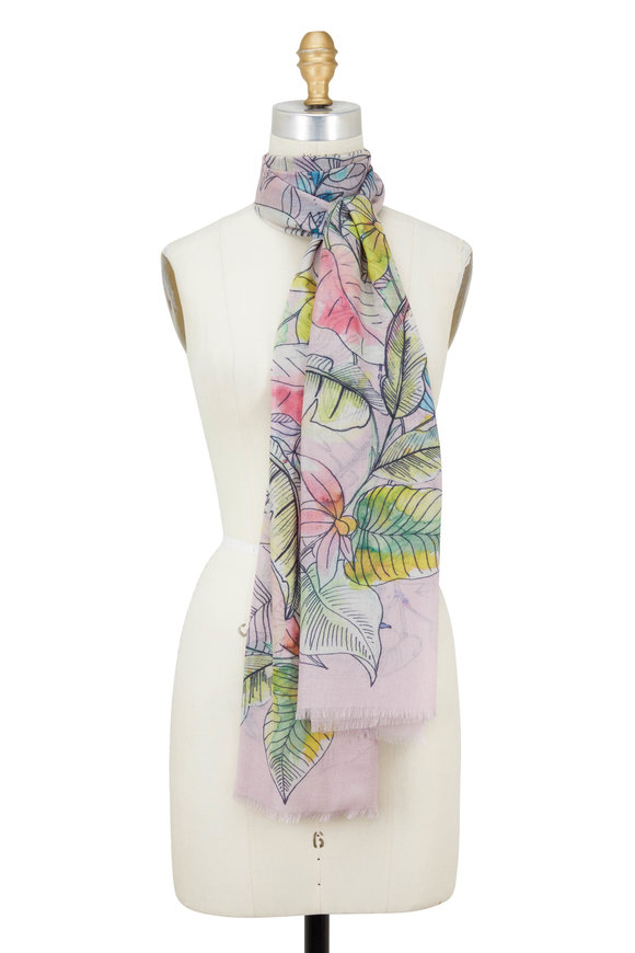 Kinross Multicolor Tinted Floral Printed Scarf