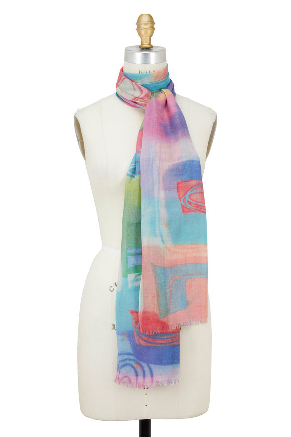 Kinross Multicolor Pop Art Printed Scarf
