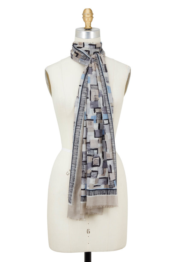 Kinross Boardwalk Multi Pop Squares Printed Scarf