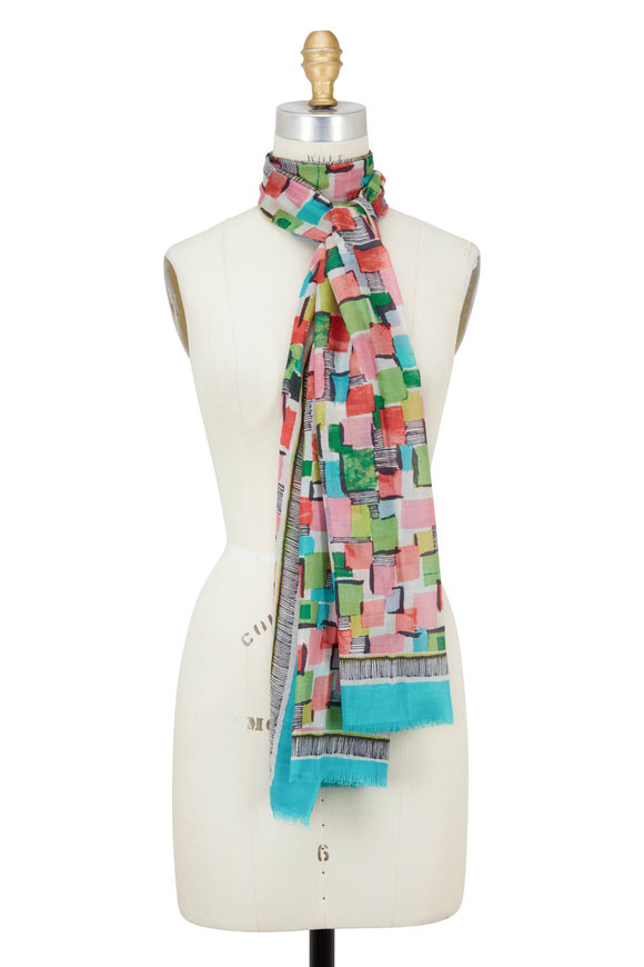 Kinross Lagoon Multi Pop Squares Printed Scarf