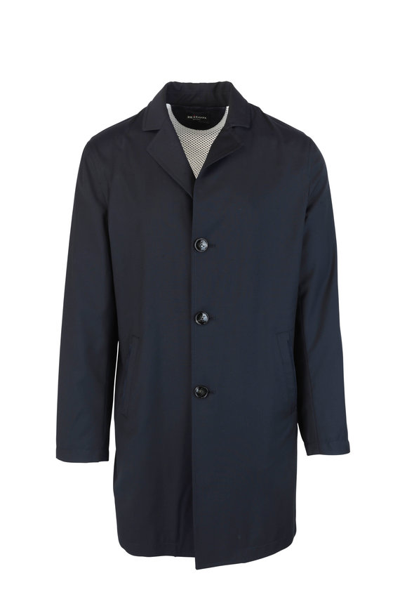 Kiton Navy Blue Wool Coat