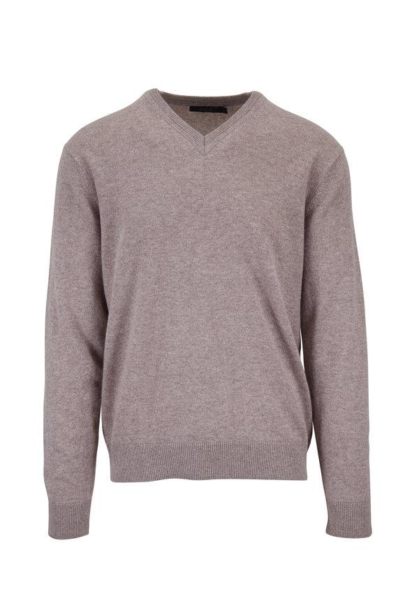 Raffi  Taupe Cashmere V-Neck Pullover