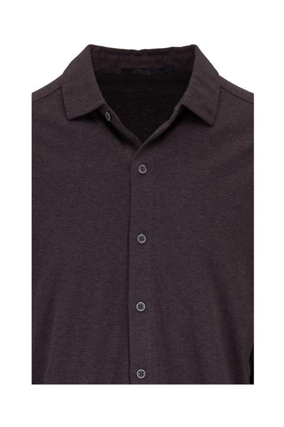Raffi  Brown Cotton Knit Sport Shirt