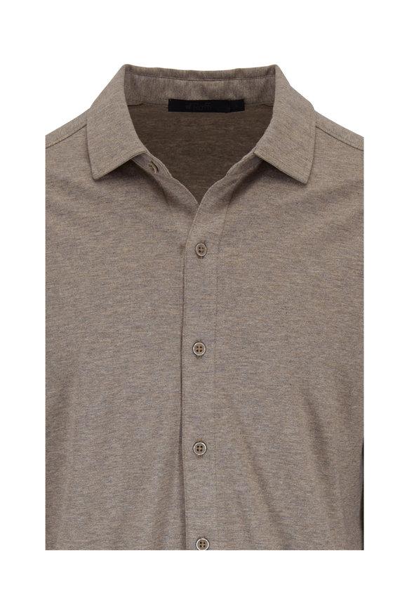 Raffi  Taupe Cotton Knit Sport Shirt