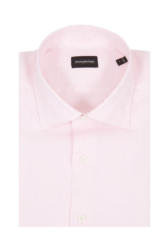 Ermenegildo Zegna Light Pink Linen Classic Fit Sport Shirt