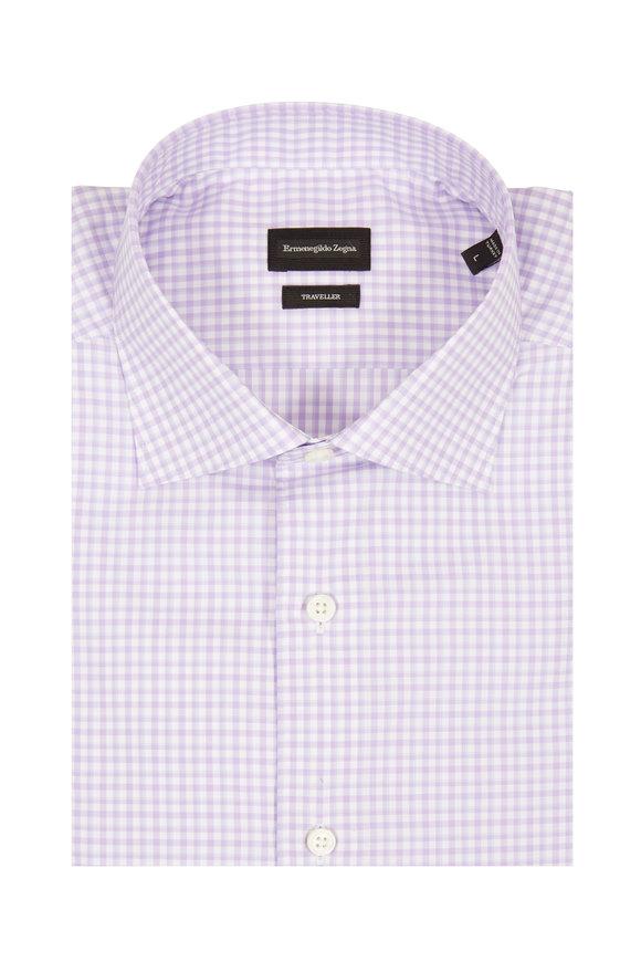 Ermenegildo Zegna Traveller Lavender Gingham Sport Shirt