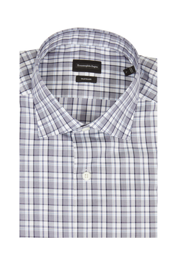 Ermenegildo Zegna Traveller Navy Blue Plaid Sport Shirt