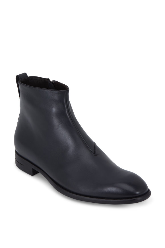 Ermenegildo Zegna Dark Gray Leather Side Zip Boot