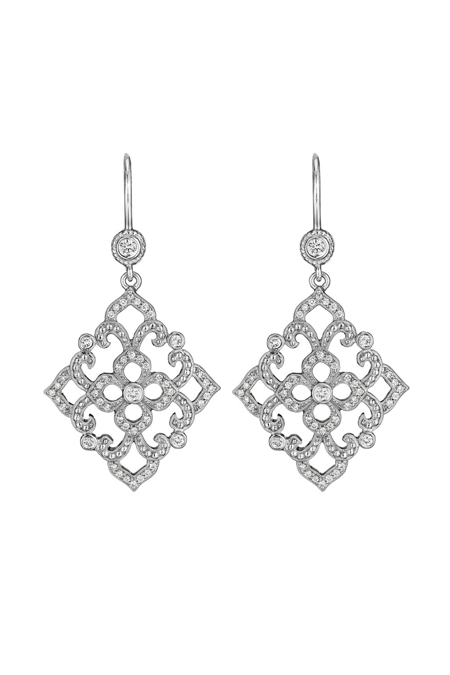 White Gold Diamond Lace Beaded Earrings