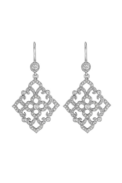 Penny Preville - White Gold Diamond Lace Beaded Earrings