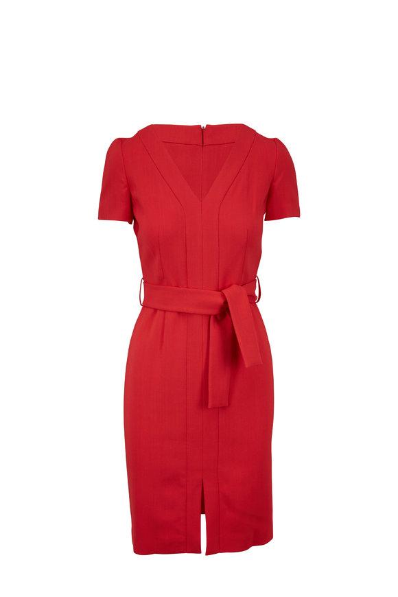 Paule Ka Geranium Short Sleeve V-Neck Dress