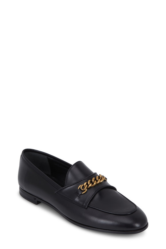 Tom Ford Black Leather Chain Loafer