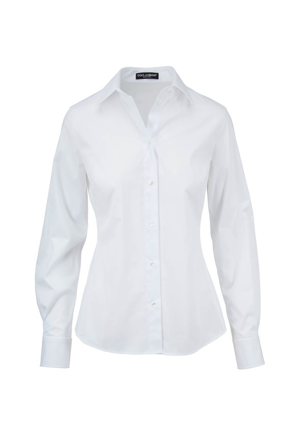 Dolce & Gabbana White Stretch Cotton Button Down Shirt