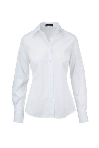 Dolce & Gabbana - White Stretch Cotton Button Down Shirt