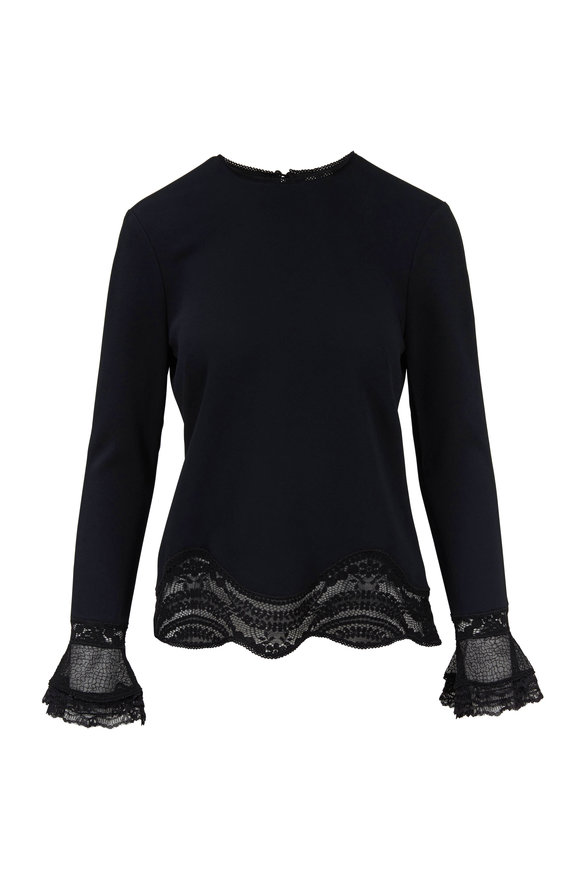 Jonathan Simkhai Black Lace Applique Hem Top
