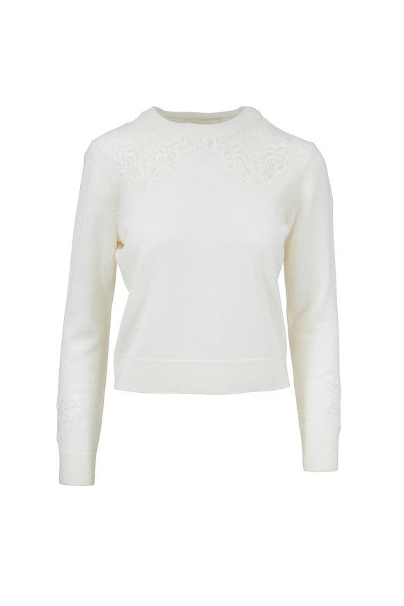 Jonathan Simkhai Ivory Wool Lace Applique Sweater