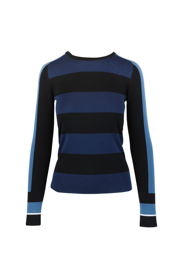 Akris Punto Blue Multi Striped Wool Sweater