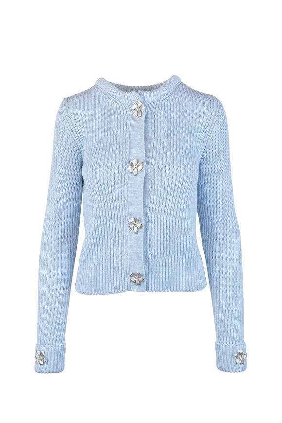 Oscar de la Renta Baby Blue Wool Blend Knit Jewel Snap Sweater