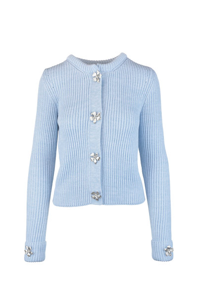 Oscar de la Renta - Baby Blue Wool Blend Knit Jewel Snap Sweater