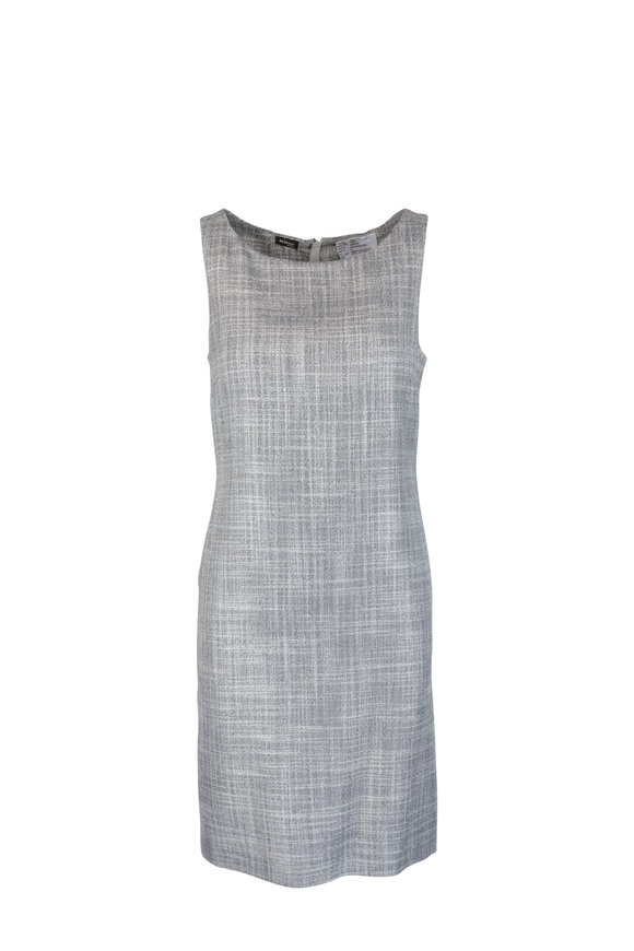 Kiton Navy Blue & White Cashmere & Silk Sheath Dress