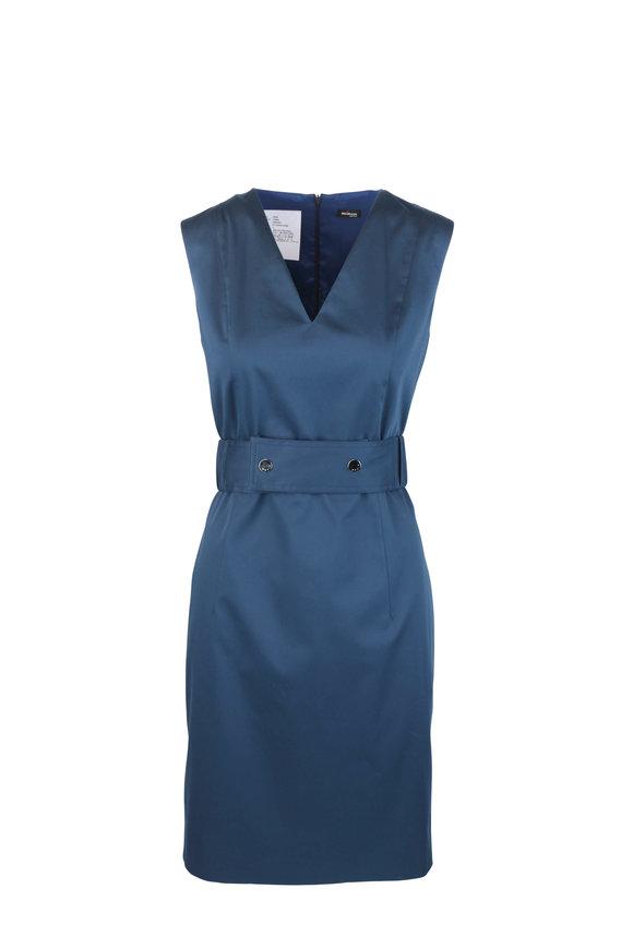 Kiton Navy Blue Stretch Cotton Belted Dress