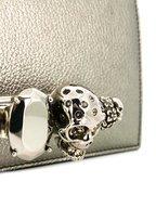 Alexander McQueen - Gunmetal Metallic Leather Jeweled Knuckle Bag