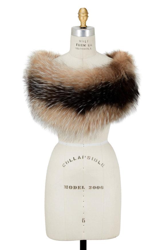 Viktoria Stass Ivory Beige Silver Fox Shoulder Warmer