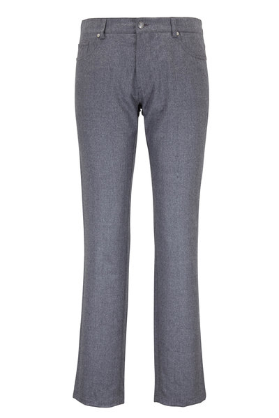 Peter Millar - Charcoal Flannel Wool Five-Pocket Pant
