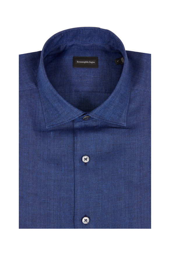 Ermenegildo Zegna Indigo Linen Classic Fit Sport Shirt