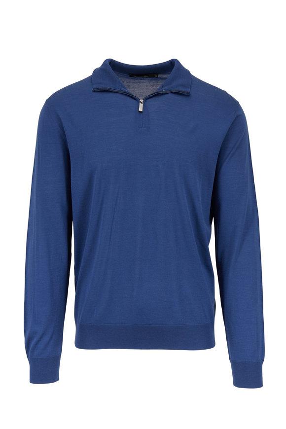 Ermenegildo Zegna Blue Wool Quarter-Zip Pullover