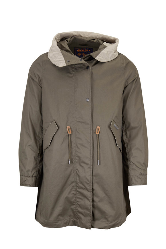 Woolrich Olive Green Hooded Parka