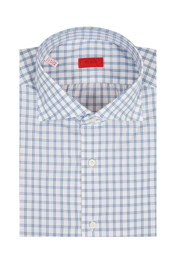 Isaia Light Blue Grid Check Dress Shirt