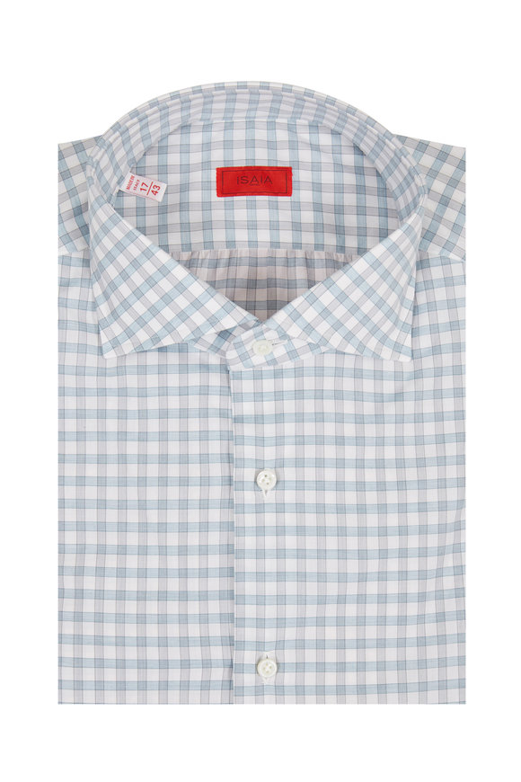 Isaia Blue & Gray Check Dress Shirt