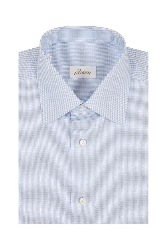 Brioni Light Blue Micro Check Dress Shirt