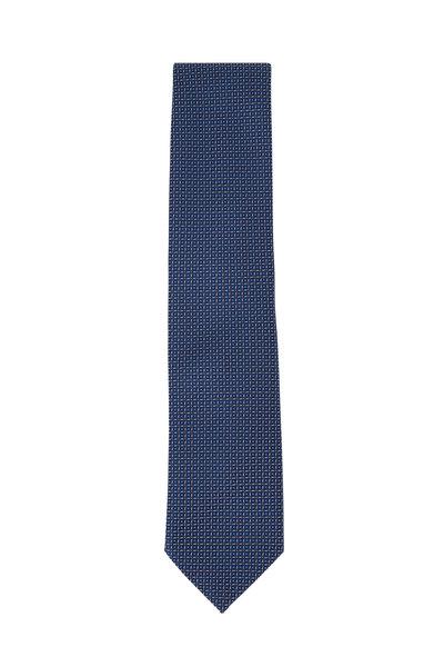 Brioni - Blue & White Line Patterned Silk Necktie