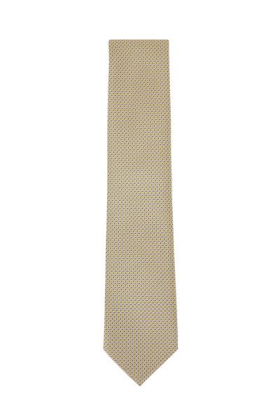 Brioni - Yellow Squares Patterned Silk Necktie