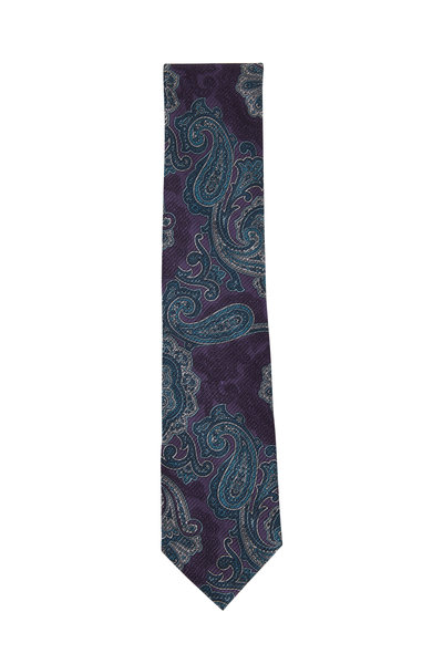 Brioni - Purple & Teal Paisley Silk Necktie