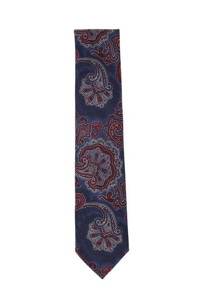 Brioni - Navy & Burgundy Paisley Silk Necktie