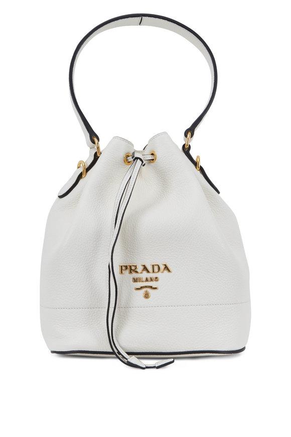 Prada White Vitello Leather Bucket Bag