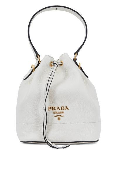 Prada - White Vitello Leather Bucket Bag