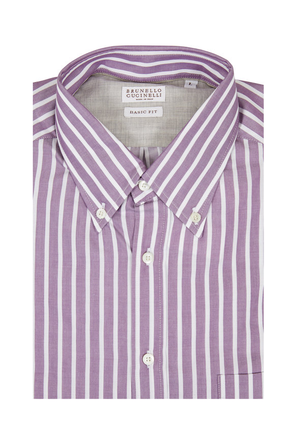 Brunello Cucinelli Purple Striped Basic Fit Sport Shirt