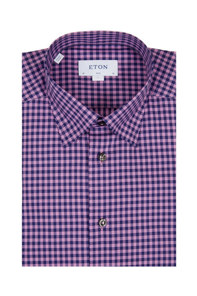 Eton - Pink & Navy Blue Gingham Slim Fit Dress Shirt