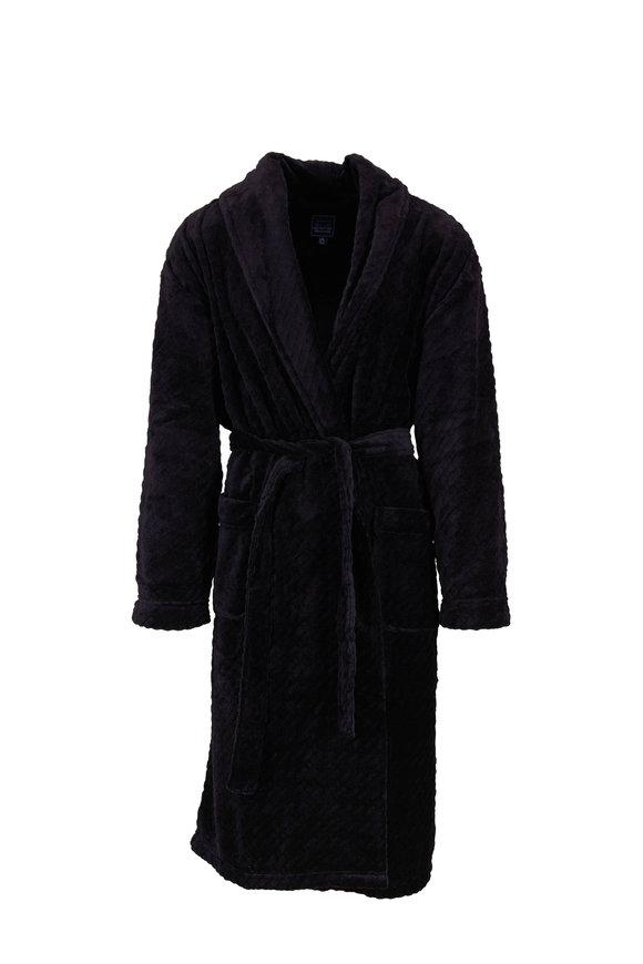 Majestic Black Textured Plush Robe