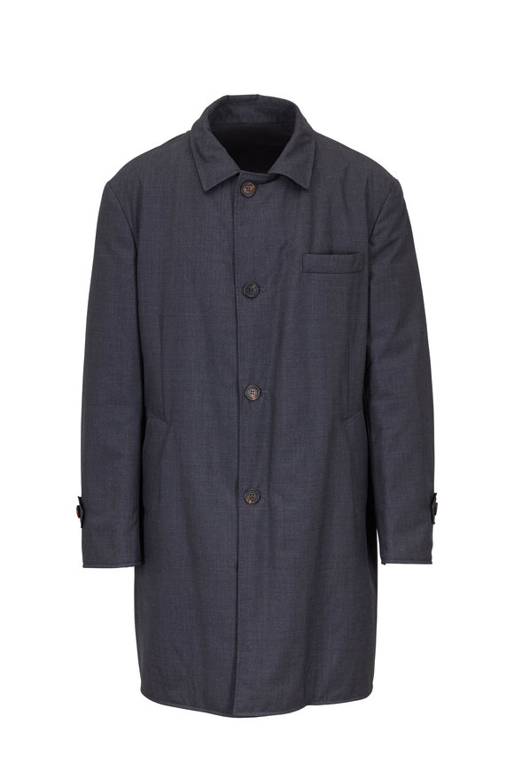 Brunello Cucinelli Gray Wool & Nylon Reversible Tech Coat