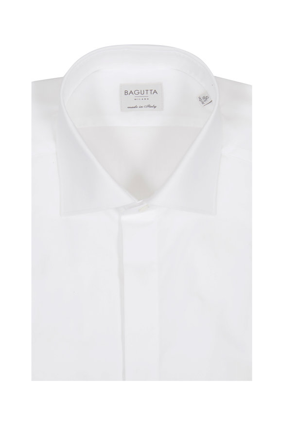 Bagutta Solid White Tuxedo Dress Shirt