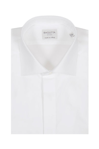 Bagutta - Solid White Tuxedo Dress Shirt
