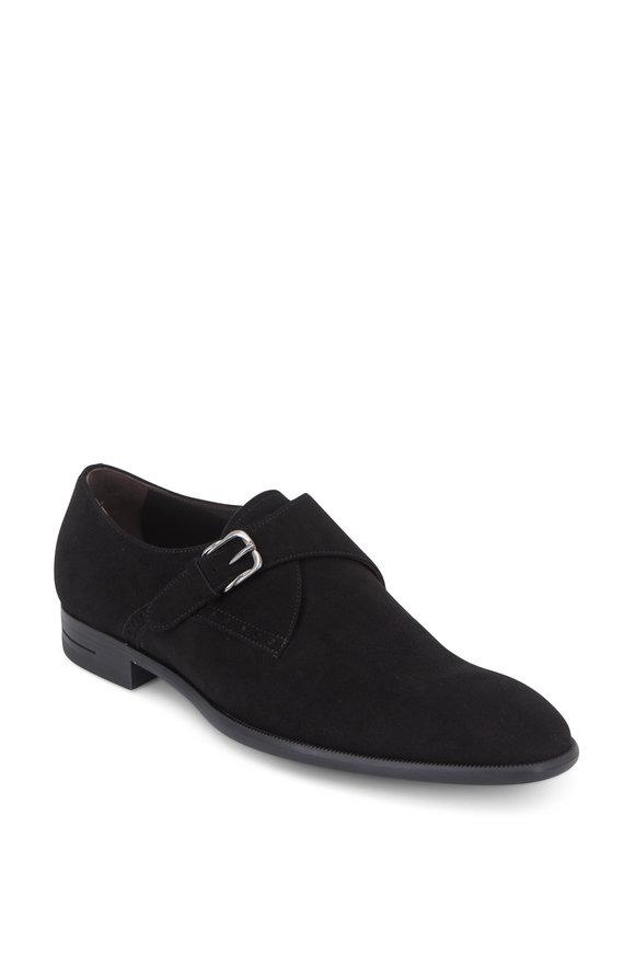 Ermenegildo Zegna Black Suede Flex Sole Monk Shoe