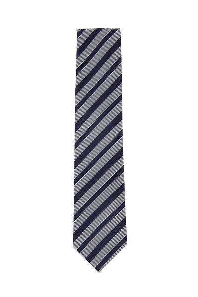 Ermenegildo Zegna - Black & Gray Diagonal Striped Silk Necktie