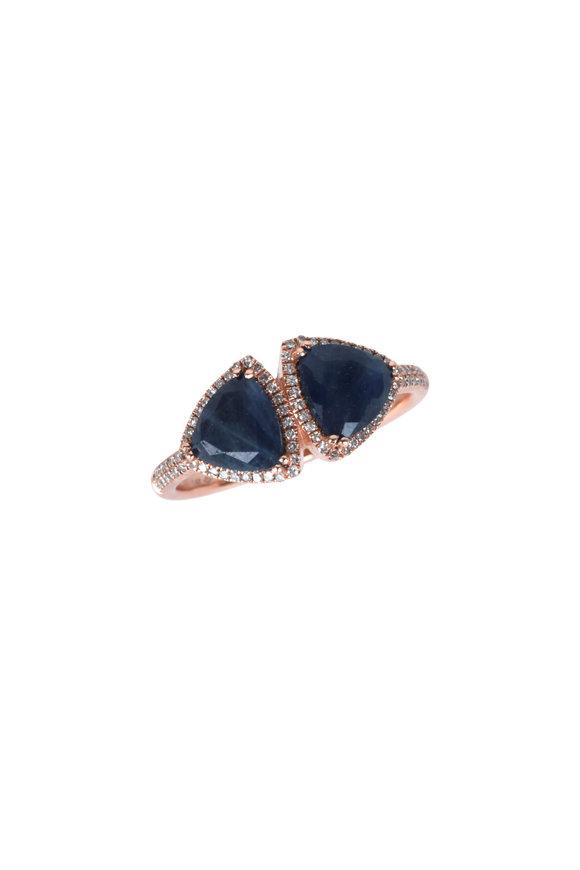 Kai Linz Rose Gold Twin Blue Sapphire & Diamond Ring
