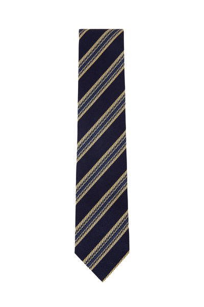 Ermenegildo Zegna - Navy & Gold Diagonal Striped Silk Necktie